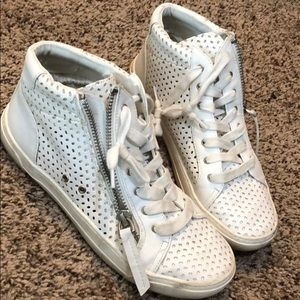 White high top target shoes